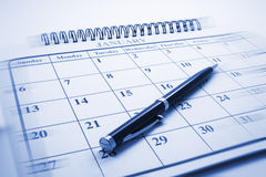 Ballpoint-Feder auf Kalender lizenzfreies stockfoto