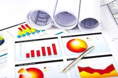 Ballpoint, grafieken, documenten, blauwdruk Stock Afbeeldingen