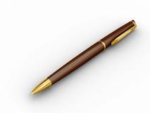 Ballpoint pen. Brown ballpoint pen. Isolated on white Royalty Free Stock Photos