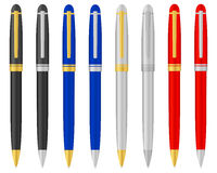Ballpoint pen 2. Eight ballpoints on a white background. Vector illustration Stock Images