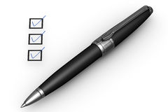 Ballpoint Pen. Isolated over a white background with check marks royalty free illustration