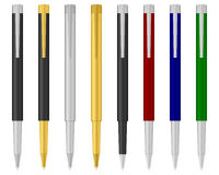 Ballpoint pen 7. Eight ballpoints on a white background. Vector illustration Royalty Free Stock Images