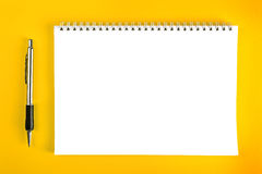 Ballpoint Pen and Blank Note Paper Royalty Free Stock Photo