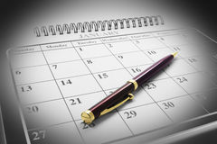 Ballpoint Pen on Calendar Royalty Free Stock Photos