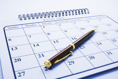 Ballpoint Pen on Calendar Stock Photography