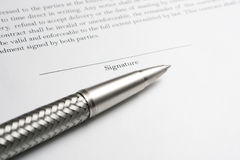 Ballpoint Pen with Contract Royalty Free Stock Image