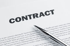 Ballpoint pen at contract royalty free stock images