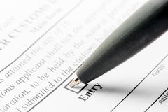 Ballpoint pen and declaration form Royalty Free Stock Images