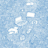 Ballpoint pen drawing with with computers Stock Images