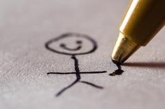 Ballpoint Pen Drawing een Stickman Stock Foto