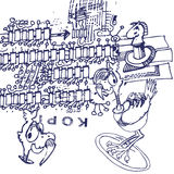 Ballpoint pen drawing with ratite and clone stamp. And creativity Royalty Free Stock Photos