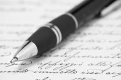 Ballpoint pen on handwrite paper Stock Photos