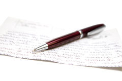 Ballpoint pen and letter Royalty Free Stock Image