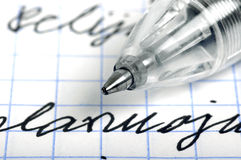 Ballpoint pen and letters Royalty Free Stock Images