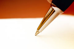 Ballpoint pen, macro shot Royalty Free Stock Images