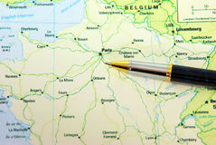 Ballpoint pen on map Stock Photography