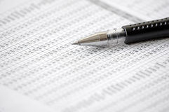 Ballpoint Pen and numbers Stock Photography