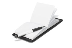 Ballpoint pen on open note pad Royalty Free Stock Photos