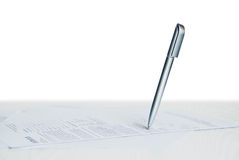 Ballpoint pen on paper Royalty Free Stock Images