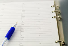 Ballpoint pen on paper Royalty Free Stock Photo