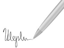 Ballpoint pen and signature 2 Royalty Free Stock Photos