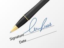 Ballpoint pen and signature Stock Photos