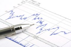 Ballpoint Pen on Stock Chart. Focus on the tip of the ballpoint pen Royalty Free Stock Photography