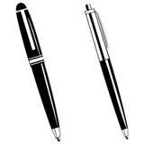 Ballpoint Pens. Black and white clipart set of ballpoint pen Stock Illustration