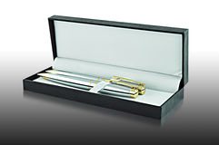 Ballpoint pens in the case Stock Photography
