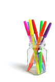 Ballpoint Pens in Glass Jar Stock Photo