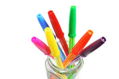 Ballpoint Pens in Glass Jar Royalty Free Stock Photography