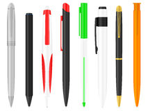 Ballpoint pens set. Ballpoints set on a white background Stock Illustration