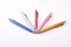 Ballpoint pens on table stock image