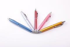 Ballpoint pens on table Stock Image