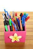 Ballpoint Pens. On Wooden Background royalty free stock photos