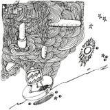 Ballpoint pióra rysunek z fala i telewizją Zdjęcie Royalty Free