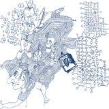 Ballpoint pióra rysunek z zamieszaniem i czaszką Zdjęcia Royalty Free