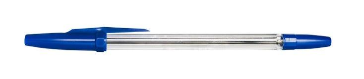 Ballpoint pióro z błękitną nakrętką odizolowywającą Obrazy Royalty Free