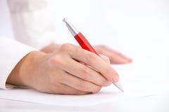 ballpoint ręki pióra writing fotografia stock