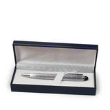 Ballpoint silver pen in a gift box Royalty Free Stock Photo
