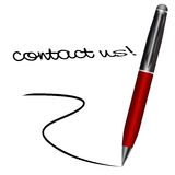 Ballpoint writing contact us Stock Photography