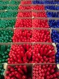 Ballpointkleur, selectieve nadruk het concept voorbereiding voor het begin van het academische jaar stock foto
