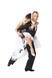 Ballrom dance couple in a dance pose isolated on white bachgroun Royalty Free Stock Images