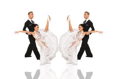 Ballrom dance couple in a dance pose isolated on white bachground Royalty Free Stock Photo