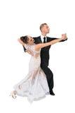 Ballrom-Tanzpaare in einer Tanzhaltung lokalisiert auf weißem bachground Stockfoto
