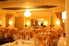 Ballroom. A lot of food ready for the party Royalty Free Stock Photo