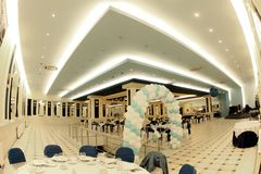 Ballroom. A beautiful grand ballroom for the party Stock Photo