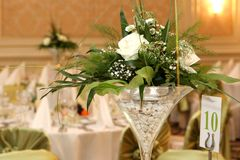 Ballroom. A beautiful bunch of flowers for the guests Royalty Free Stock Photo