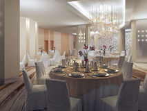 Ballroom, banquet hall in restaurant Royalty Free Stock Photography