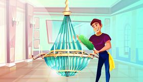 Ballroom chandelier cleaning vector illustration vector illustration